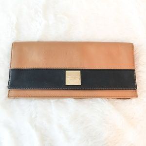 NWT Isaac Mizrahi Brown and Black Leather Clutch